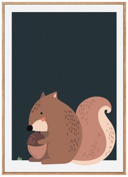 Quadro Infantil Esquilo Floresta