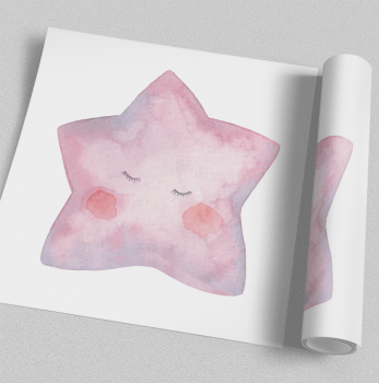 Quadro Infantil Estrela Aquarela