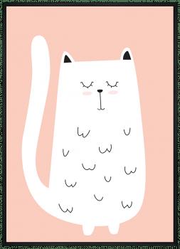 Quadro Infantil Gato Branco Fundo Rosa
