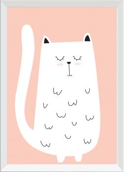 Quadro Decorativo Infantil Gato Branco Fundo Rosa