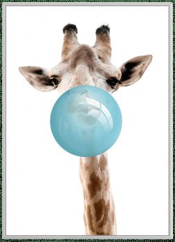 Quadro Decorativo Infantil Girafa Chiclete Bubble Azul