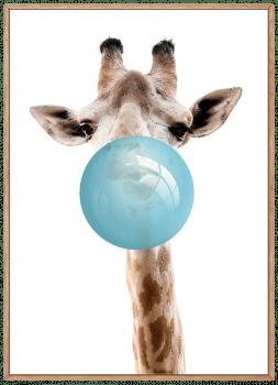 Quadro Infantil Girafa Chiclete Bubble Azul