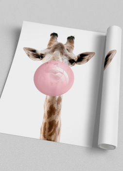 Quadro Decorativo Infantil Girafa Chiclete Bubble Rosa