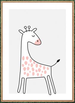 Quadro Decorativo Infantil Girafa Rosa Safari