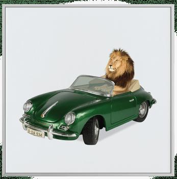 Quadro Decorativo Infantil Leão Carro Verde