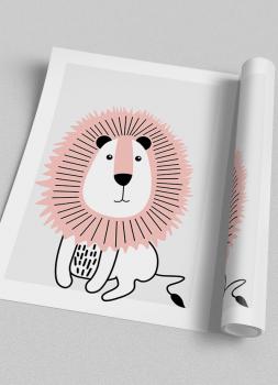 Quadro Decorativo Infantil Leão Rosa Safari