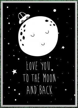 Quadro Decorativo Infantil Lua Love You to the Moon Frase