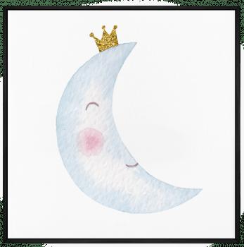 Quadro Decorativo Infantil Lua Aquarela