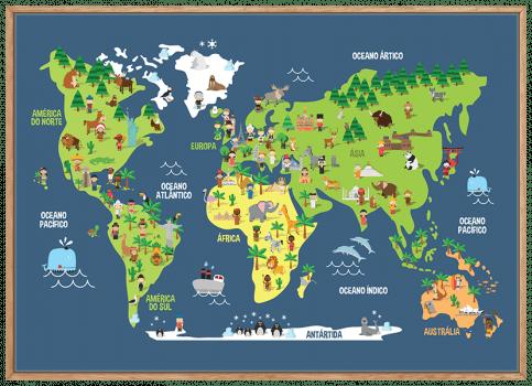 Quadro Infantil Mapa Mundi Animais