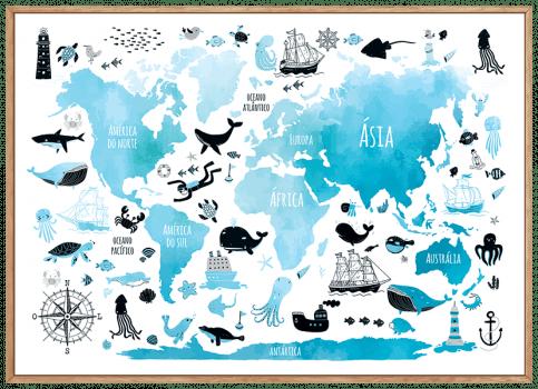 Quadro Infantil Mapa Mundi Oceano