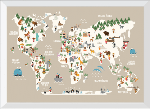 Quadro Decorativo Infantil Mapa Mundi Animais Sépia