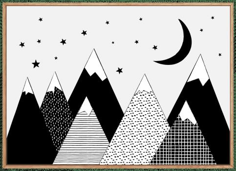 Quadro Infantil Escandinavo Montanhas Neve Paisagem Preto e Branco