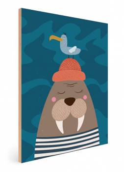 Quadro Decorativo Infantil Morsa e Mar