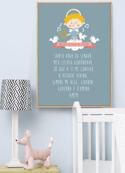 Quadro Infantil Oração Anjo da Guarda