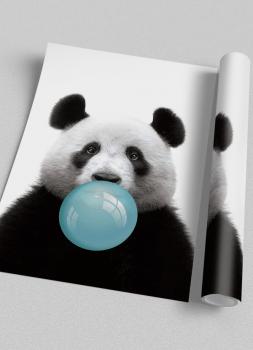 Quadro Infantil Panda Chiclete Bubble Azul