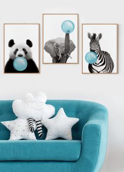 Quadro Decorativo Infantil Panda Chiclete Bubble Azul