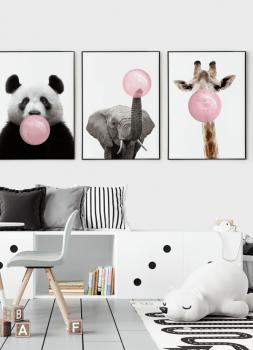 Quadro Decorativo Infantil Panda Chiclete Bubble Rosa