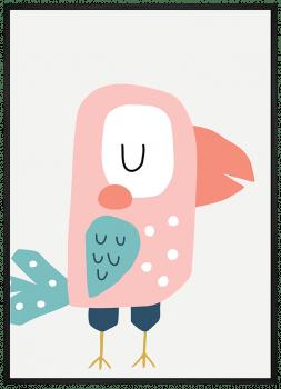 Quadro Decorativo Infantil Ave Papagaio Rosa