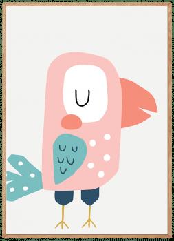 Quadro Infantil Ave Papagaio Rosa