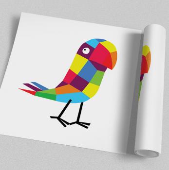 Quadro Infantil Pássaro Colorido