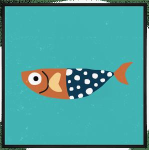 Quadro Decorativo Infantil Peixinho de Bolinhas - Série Fundo do Mar