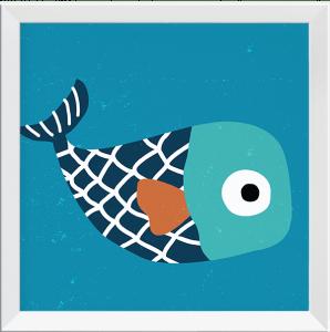 Quadro Decorativo Infantil Peixinho de Listras - Série Fundo do Mar