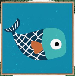 Quadro Infantil Peixinho de Listras - Série Fundo do Mar