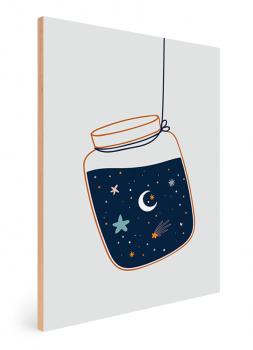 Quadro Decorativo Infantil Céu Estrelado - Oceano Azul Marinho