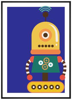 Quadro Decorativo Infantil Robô Colorido Fundo Azul