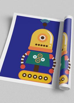 Quadro Infantil Robô Colorido Fundo Azul