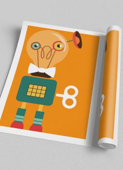 Quadro Infantil Robô Colorido Fundo Laranja