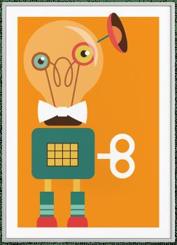 Quadro Decorativo Infantil Robô Colorido Fundo Laranja