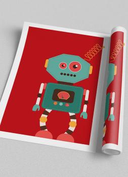 Quadro Decorativo Infantil Robô Colorido Fundo Vermelho