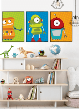 Quadro Infantil Robô Fundo Azul
