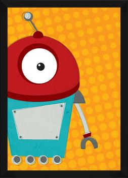 Quadro Decorativo Infantil Robô Fundo Laranja