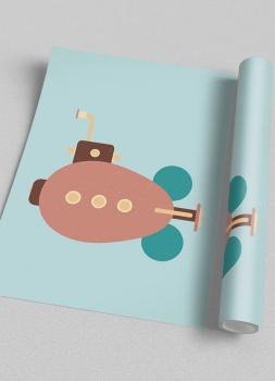 Quadro Infantil Submarino Steampunk