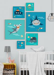 Quadro Infantil Tubarão Feliz - Série Fundo do Mar