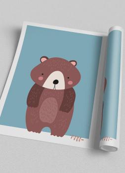 Quadro Infantil Urso Floresta