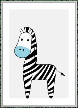 Quadro Decorativo Infantil Zebra Azul Safari