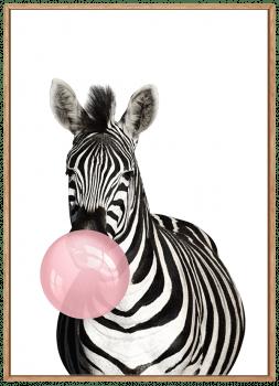 Quadro Decorartivo Infantil Zebra Chiclete Bubble Rosa