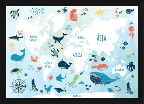 Quadro Decorativo Infantil Mapa Mundi Oceano Colorido
