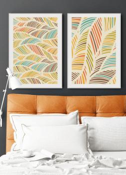 Quadros Abstratos Folhas - Composição com 2 quadros