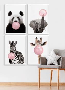 Quadros Decorativos infantis chiclete bubble Rosa - Composição com 4 quadros