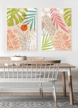 Quadros Decorativos Folhagens Laranja e Rosas - Composição com 2 quadros - Composição com 2 quadros
