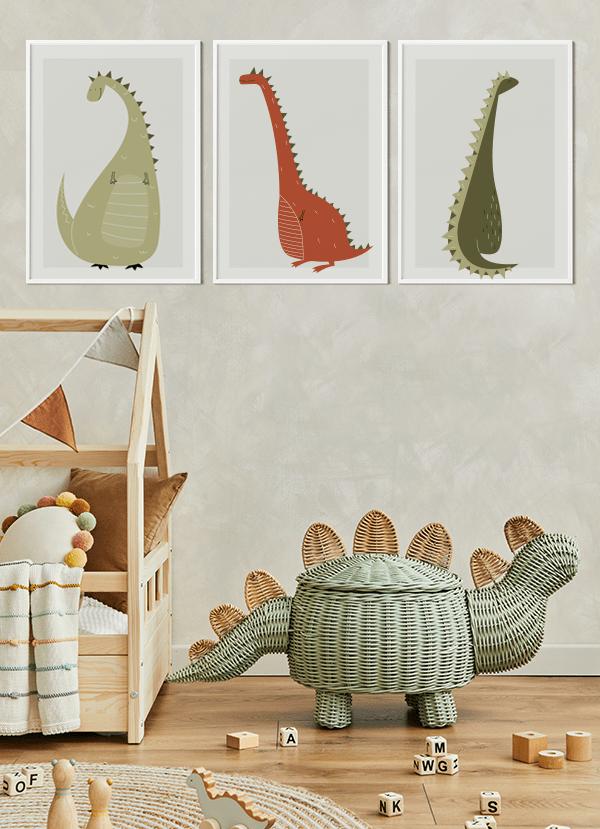 Quadros Decorativos Infantis Amigos Dinossauros