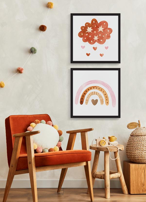 Quadros Decorativos Infantis Arco-Iris Nuvem - Composição com 2 quadros