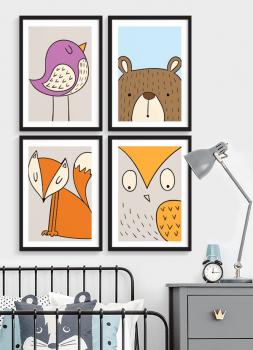 Quadros Decorativos infantis Animais Colors - Composição com 4 quadros