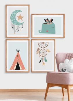 Quadros Decorativos Infantis Étnico Boho - Composição com 4 quadros
