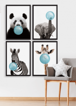 Quadros Decorativos infantis chiclete bubble Azul -  Composição com 4 quadros