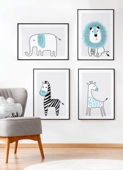 Quadros Decorativos Infantis Elefante, Leão, Girafa e Zebra Azul Safari - Conjunto com 4 quadros